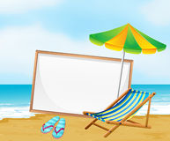 A beach with an empty whiteboard Stock Image