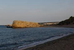 Beach of Empuries, Emporda Girona. Beach of   Moll Grec, Greek Port, Empuries, Girona Royalty Free Stock Photos
