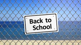Beach enclosed by fence with sign Royalty Free Stock Photos