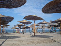 Beach at the end of the tourist season in Vama Veche resort at the Black Sea in Romania, on August 23, 2015 Royalty Free Stock Image