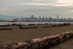 Beach. At English Bay Overlooking Downtown Vancouver, Canada royalty free stock image