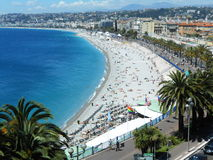 BEACH AND ENGLISH PROMENADE IN NICE, FRANCE Royalty Free Stock Photos