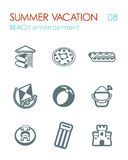 Beach entertainment icon set. Summer. Vacation Stock Image