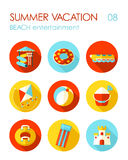 Beach entertainment icon set. Summer. Vacation Royalty Free Stock Photos