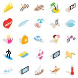 Beach entertainment icons set, isometric style. Beach entertainment icons set. Isometric set of 25 beach entertainment vector icons for web isolated on white Royalty Free Stock Photos