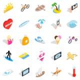 Beach entertainment icons set, isometric style Royalty Free Stock Photos
