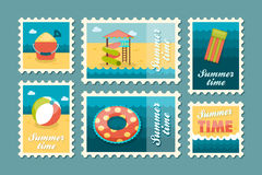 Beach entertainment stamp set. Summer. Vacation Royalty Free Stock Photo