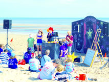 Beach entertainment, Sutton-on-Sea. Royalty Free Stock Images