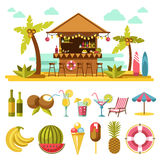 Beach entertainments and set of elements below on white Stock Images