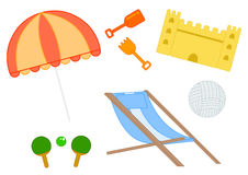 Beach equipment. Set of illustrated beach object sand castle, umbrella, deckchair, rackets and balls on white background Royalty Free Stock Images