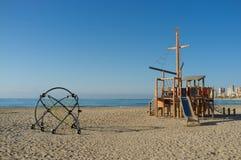 Beach equipment, Campello beach stock photography