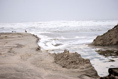 Beach erosion. From waves in New Jersey in the making from Hurricane Irene stock images