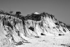 Beach Erosion Caused by Hurricane at St. Augustine, Flordia. Beach erosion caused by a hurricane hitting at the east coast of Florida on Novembre 06, 2016 stock photography