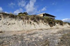 Beach erosion from Hurricane Matthew, Vilano Beach, Florida. Beach erosion outside home following Hurricane Matthew in Vilano Beach, Florida stock photography