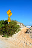 Beach erosion sign Royalty Free Stock Photo