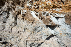 Beach Erosion and Stone Dirt. Exposed layers of the earth due to beach erosion caused by excessive high tides royalty free stock photography