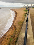 Beach Erosion. A very high tide in Herne Bay, Kent UK, where beach erosion can clearly be seen as a high ridge is formed at the top edge of the beach. ( stock image