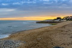 Beach in the evening at Jard-sur-Mer, Vendee, France Stock Photography