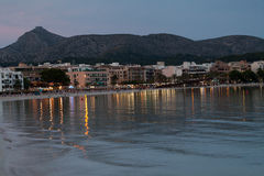 The beach with the evening-time in Alcudia Stock Images
