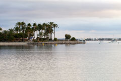 The beach with the evening-time in Alcudia. On Majorca Stock Photos