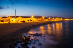 Beach in evening time.  Badalona Stock Image