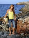 Beach Excursion. Young girl on a beach excursion in Majorca Stock Photos