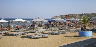 Beach in Faliraki. Rhodes island. Greece Stock Photo