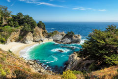 Beach and Falls, Big Sur, California Royalty Free Stock Image