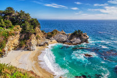 Beach and Falls, Big Sur, California Stock Photos