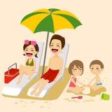 Beach Family Sunbathing Stock Image
