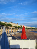 Beach and famous hotels along Promenade de la Croisette Cannes F. Cannes France the French Riviera beach and famous hotels along The Promenade de la Croisette Stock Photo