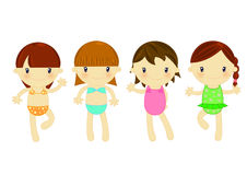 Beach fashion girls. Illustration about 4 cute little girls in beach wears on white background Royalty Free Stock Photos
