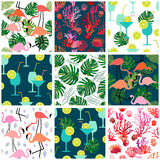 Beach fashion set. Seamless vector patterns with tropical motifs. Royalty Free Stock Photo