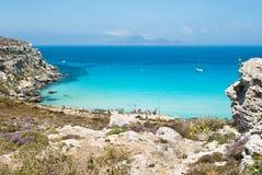 Beach of favignana. aegadian island. The wonderful beach in Favignana island.Sicily, Italy, Aegadian Stock Photography