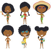 Beach female characters vector illustration. Royalty Free Stock Image