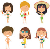 Beach female characters vector illustration. Stock Images