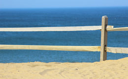 Beach Fence Overlooking the Ocean stock images