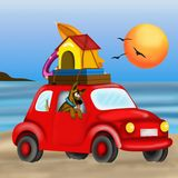 The beach with fido. On vacation at the beach with fido Stock Photo