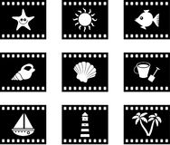 Beach film. Set of six beach film strip style icons Stock Image