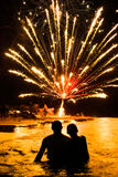 Beach Fireworks. People looking at fireworks on the beach in South Padre Island, Texas royalty free stock photo