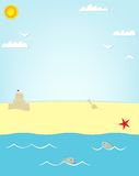 Beach and fish poster Royalty Free Stock Photos