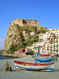 Beach with fisherboats in Calabria, Italy. Tranquil beach scene in Scilla, Calabria (Italy royalty free stock photography