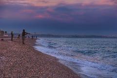 Beach fisherman antalya lanscape Royalty Free Stock Images