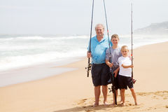 Beach fishing royalty free stock photography