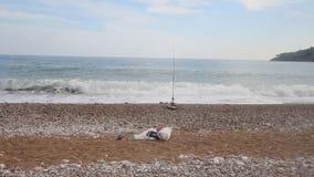 Beach fishing on Mediterranean Sea stock footage