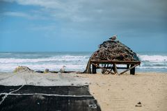 Beach with fishing net in Espinho near Porto, Portugal.  royalty free stock photos