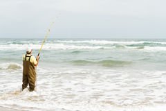 Beach fishing Royalty Free Stock Photo