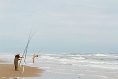 Beach fishing Stock Photo