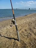 Beach Fishing for Striped Bass at Sandy Point stock images