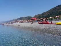 Fiumefreddo beach. The beach of fiumefreddo del bruzio in calabria region in south italy stock photos